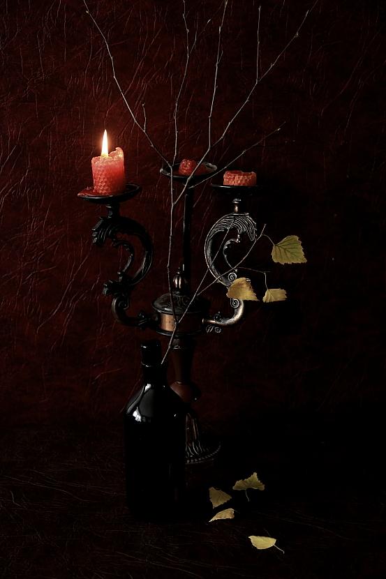 """фото """"Осень..."""" метки: натюрморт, веточка берёзы, свечи"""