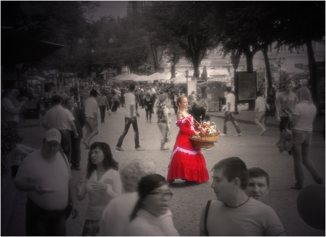 "photo ""Lady in red"" tags: street, travel, genre,"