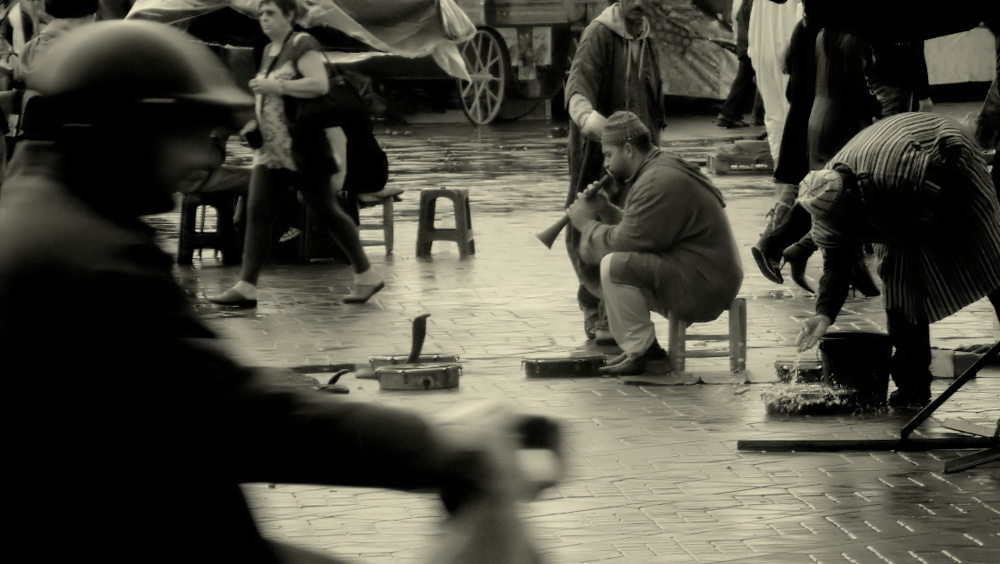 "photo ""The Snake Charmer..."" tags: black&white, genre, street,"