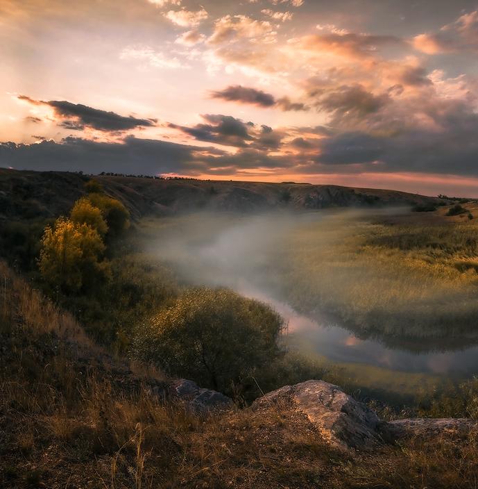 "фото ""Закат с туманом"" метки: пейзаж,"