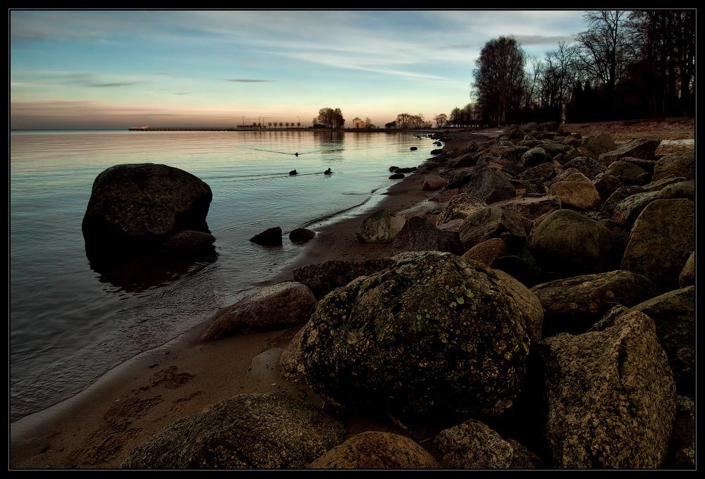 """фото """"Питер. Ноябрь. 4 часа"""" метки: пейзаж, Петергоф, вода, закат, осень"""