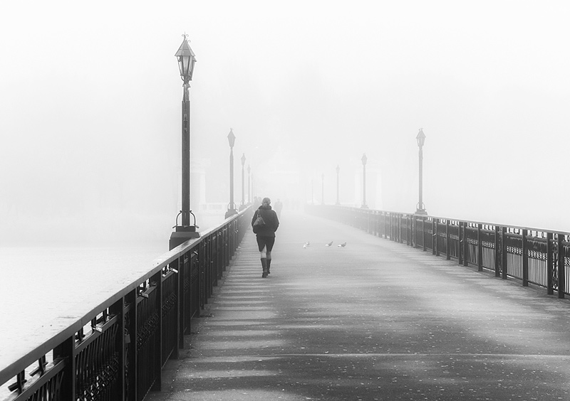 "photo ""Morning fog"" tags: street, genre, black&white,"