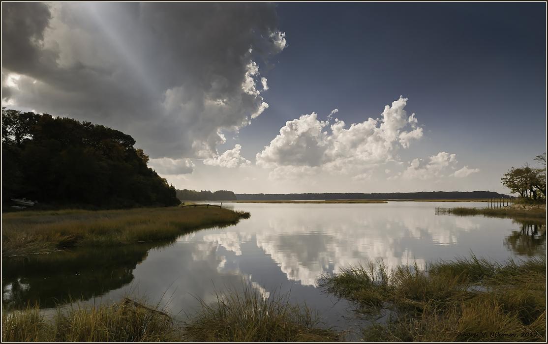 "фото ""Stony Brook, NY"" метки: пейзаж, Long Island, foliage, вода, облака, озеро, осень"