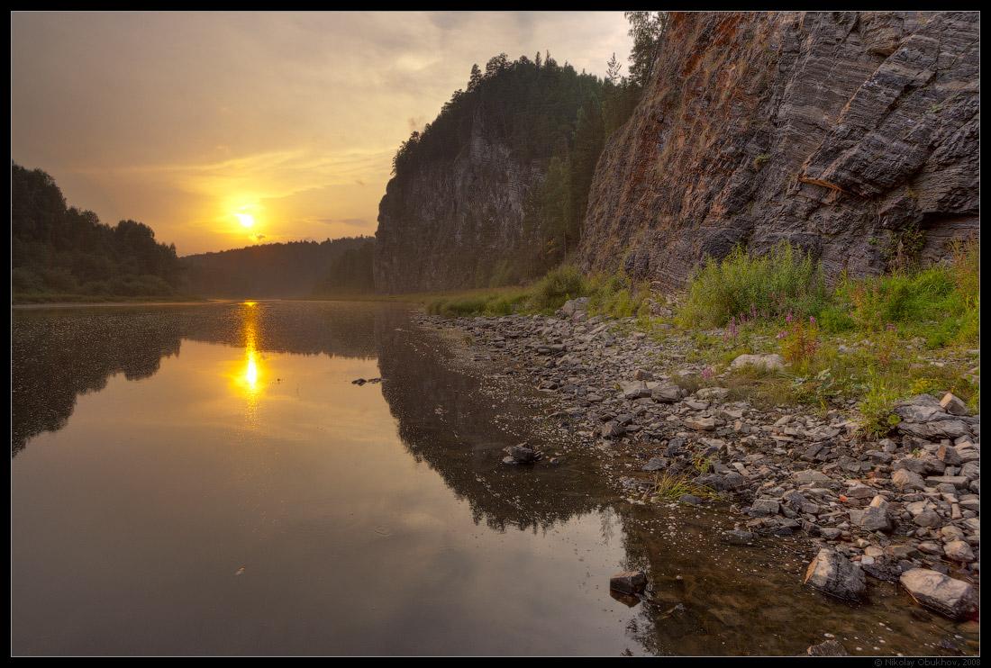 "фото ""Летний вечер / 0189_0114"" метки: пейзаж, горы, закат, лес, лето, скалы, солнце"