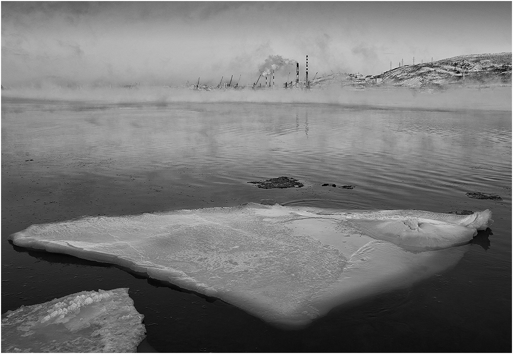 "фото ""***"" метки: черно-белые, вода, зима"