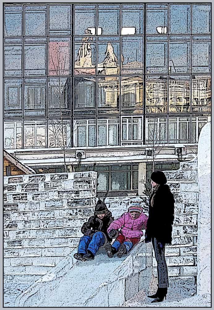 """фото """"зимние забавы"""" метки: жанр, город, горка, дети, зима"""