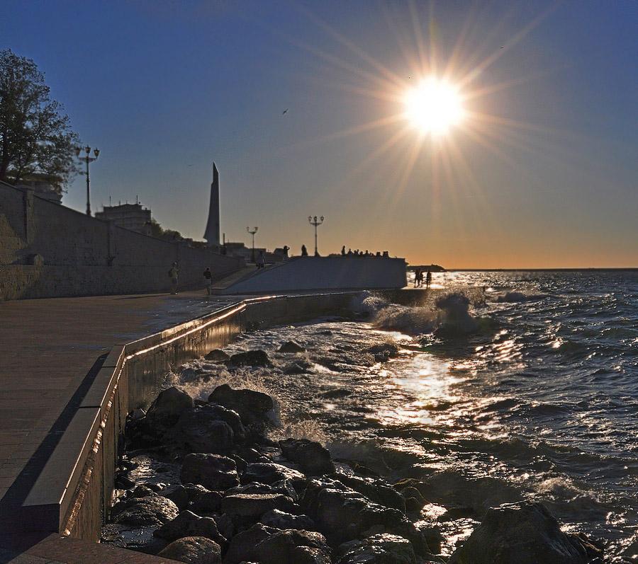 """фото """"Штормило слегка-3"""" метки: пейзаж, вечер, волны, море"""