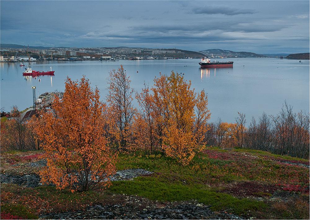 """фото """"Вечерний залив."""" метки: пейзаж, вода, осень"""