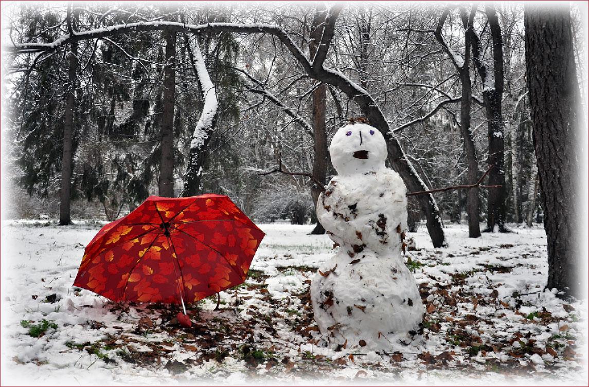 """фото """"Первый день Зимы"""" метки: природа, зима, лес, снеговик"""