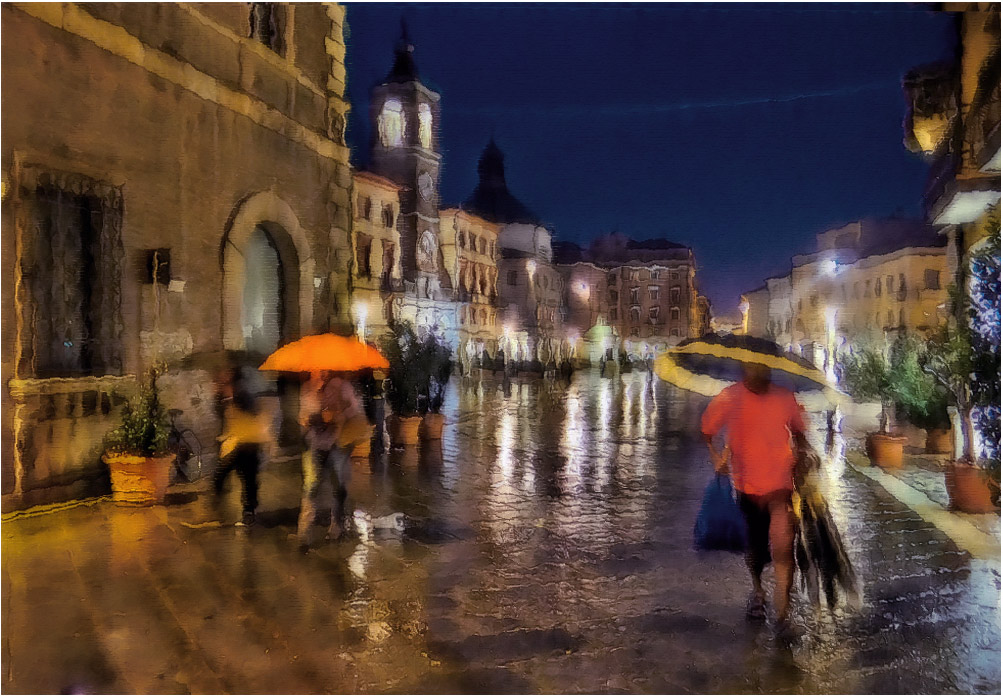 "photo ""Rain..."" tags: street, digital art, Europe, Italy, evening, foto liubos, rain, дома, улица_ римини"