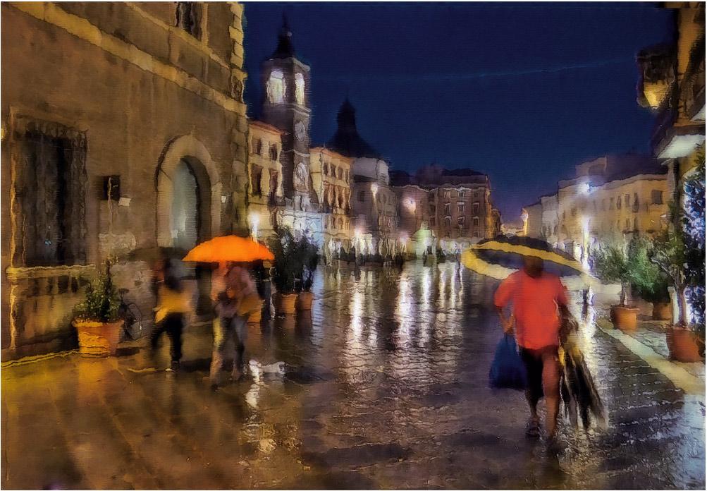 """фото """"Rein..."""" метки: стрит-фото, digital art, foto liubos, Европа, Италия, вечер, дождь, дома, улица_ римини"""