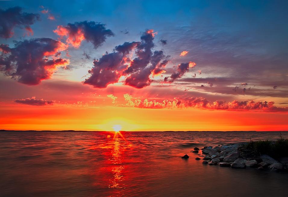 "photo ""***"" tags: landscape, sky, sun, sunset, water, краски"