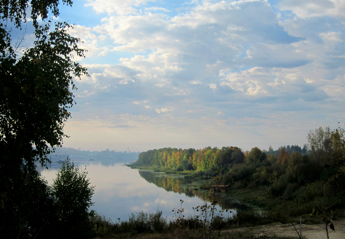 "photo ""September. Morning."" tags: landscape, nature, autumn, clouds, morning, september, water"