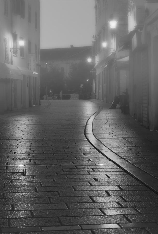 """фото """"Ночной Ровинь"""" метки: черно-белые, город, Ровинь, Хорватия, мостовая, ночь, фонари"""