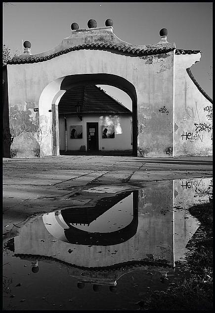 "фото ""Bорота a лужа"" метки: черно-белые, Prag, Praha, Прага"