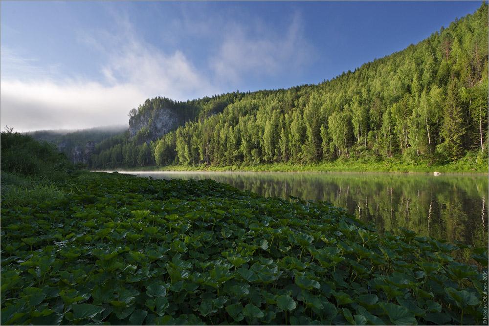 "фото ""0192_0155"" метки: пейзаж, вода, горы, лес, лето, рассвет, река, скалы, туман"