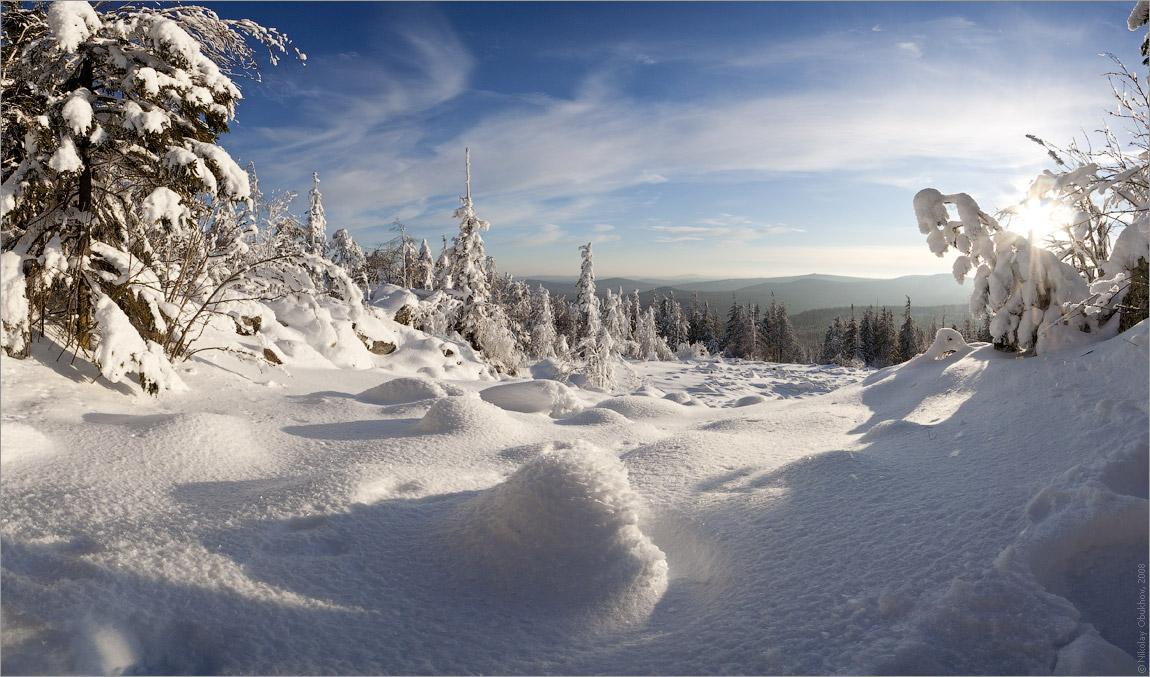 "фото ""0190_0029-0033"" метки: пейзаж, панорама, зима, лес, солнце"