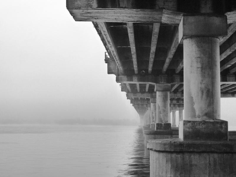 "photo ""***"" tags: architecture, city, black&white, bridge, bw, fog, river, water"