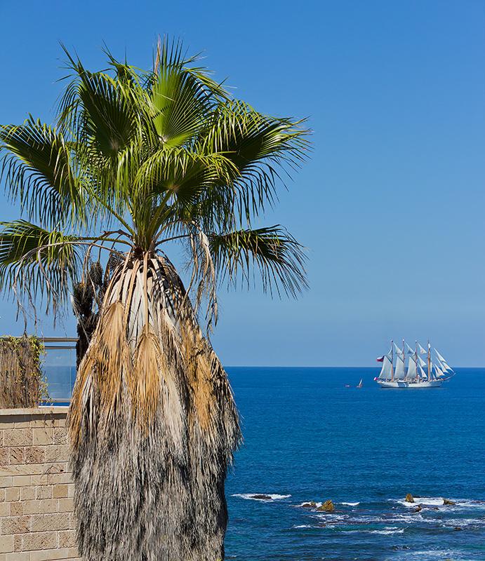 """фото """"Парусник - 2"""" метки: пейзаж, путешествия, Израиль, Средиземное море, Яффо, парусник"""