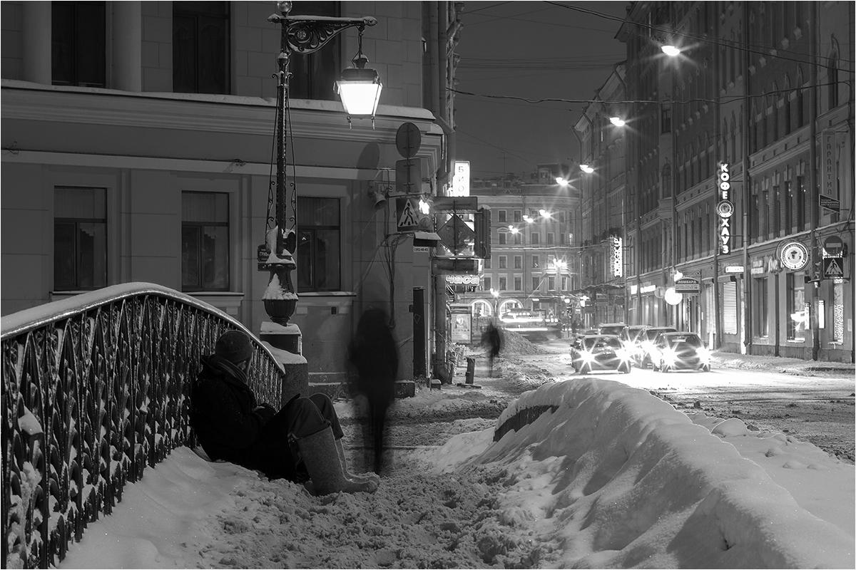 "фото ""***"" метки: город, черно-белые, Санкт-Петербург, зима"