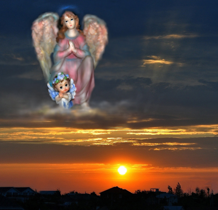 "фото ""Молились ангелы за землю"" метки: , ангелы, закат, молитва"