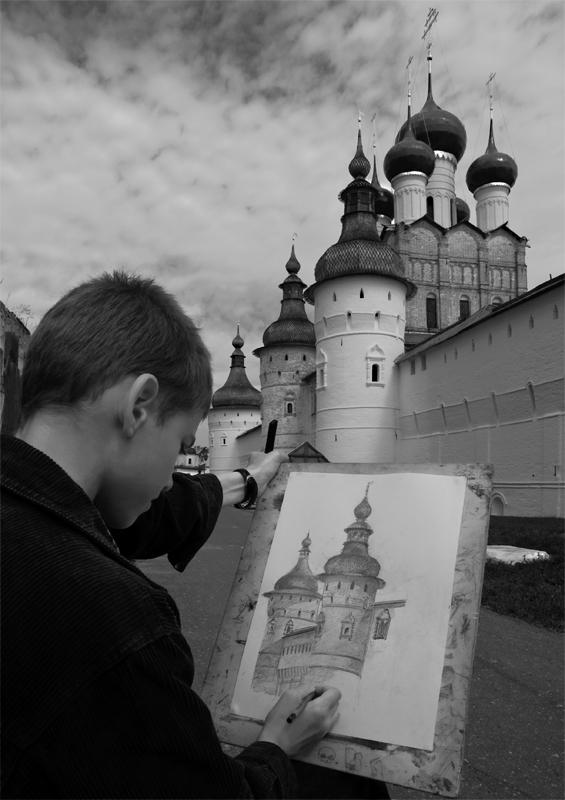"""фото """"Ученик Творца"""" метки: портрет, архитектура, жанр, монастырь, художник"""