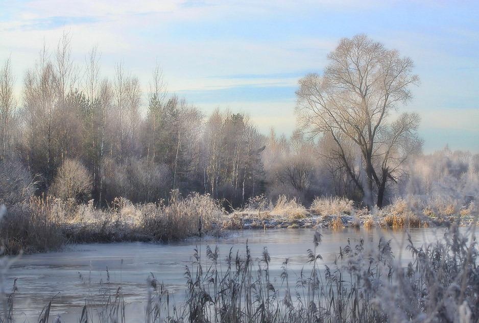 """фото """"Свежесть осеннего утра-2"""" метки: пейзаж, Озеро лед иней"""