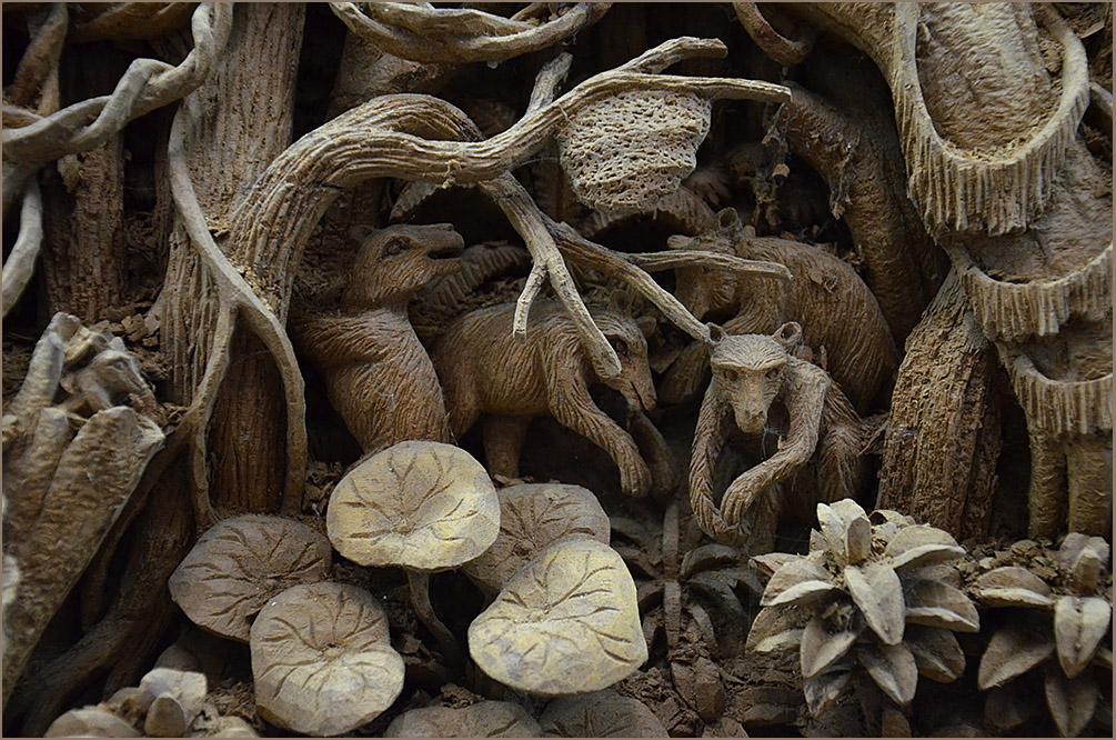 """фото """"Деревянные джунгли"""" метки: фрагмент, путешествия, разное, Картина из тикового дерева"""