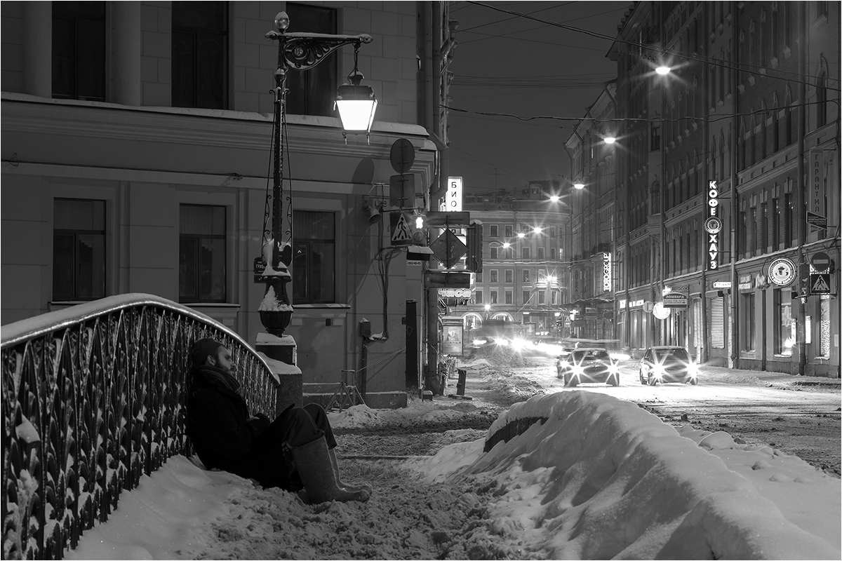 "photo ""***"" tags: city, black&white, St. Petersburg, winter"