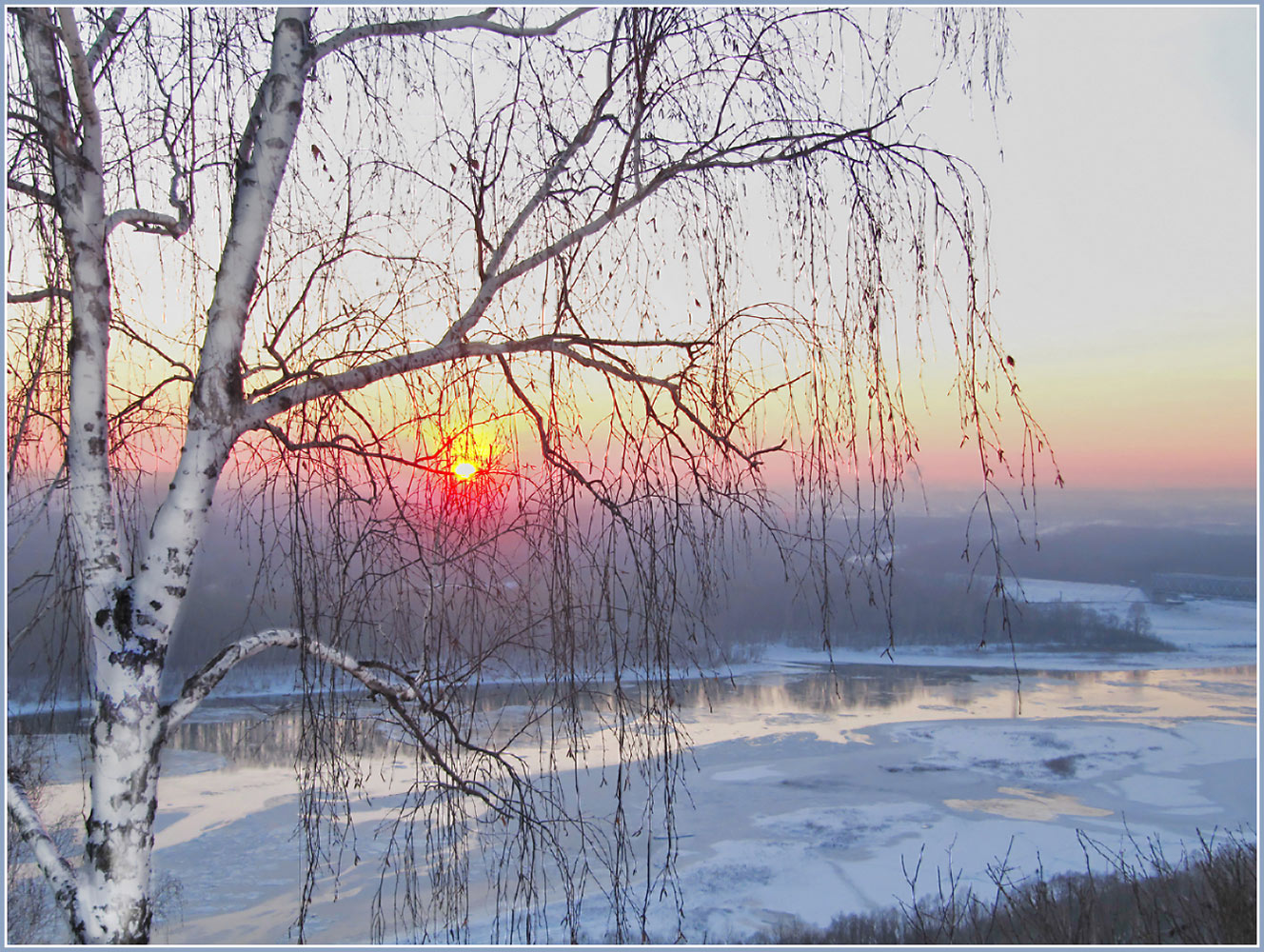 "фото ""Уфа. Река Белая. 10 декабря 2012 г."" метки: пейзаж, Берёза, закат, зима, река"
