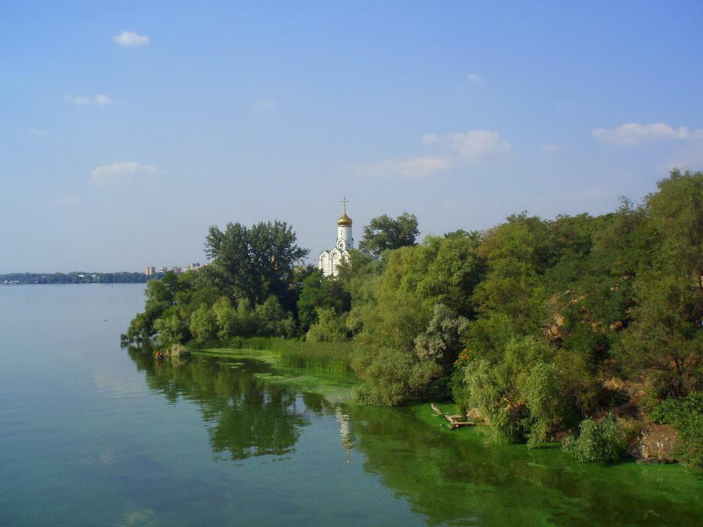 """фото """"Монастырский остров"""" метки: пейзаж, архитектура, город, Украина, вода, лето, река"""