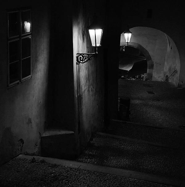"""photo """"Ночная атмосфера-20"""" tags: black&white, Prag, Prague, Praha"""