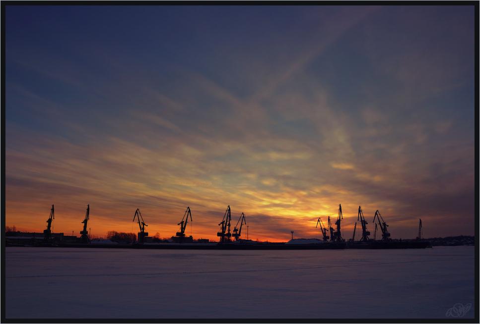 "фото ""Утро"" метки: город, Череповец, закат, зима"