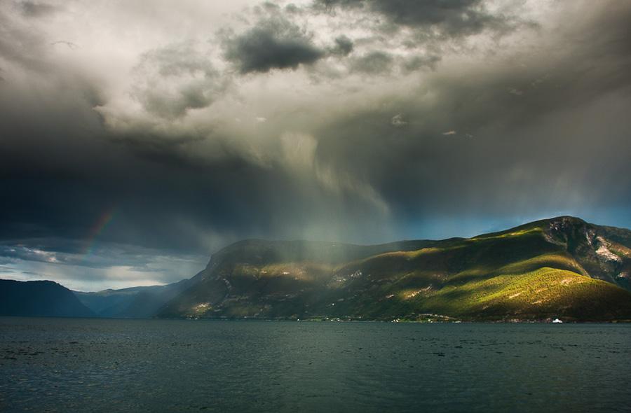 """фото """"Согнефьорд"""" метки: пейзаж, путешествия, норежский, паром, радуга, фьорд"""