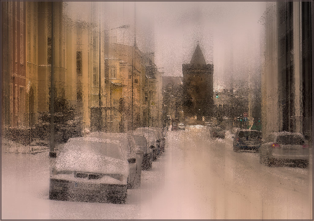 "photo ""***"" tags: city, digital art, Europe, foto liubos, street, tower, winter, бранденбург, старый город"
