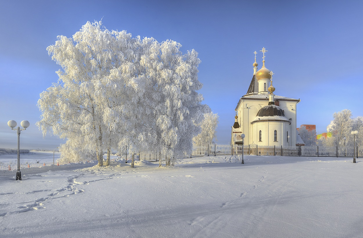 "photo ""***"" tags: landscape, snow, sun, temple, winter, мороз"
