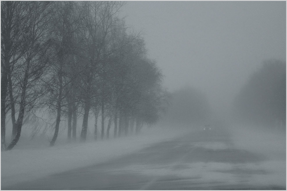 "photo ""Yesterday's snowstorm"" tags: landscape, fog, road, winter, метель"