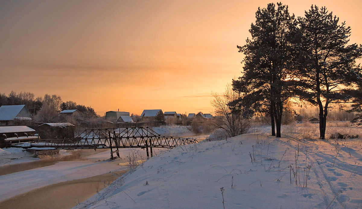 "photo ""***"" tags: landscape, bridge, snow, sunrise, winter, Речка"