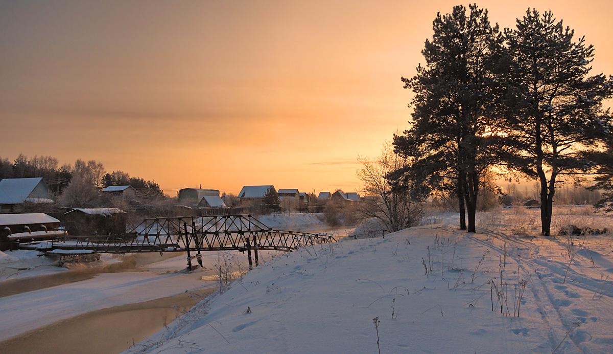 """фото """"У старого моста"""" метки: пейзаж, Речка, зима, мост, рассвет, снег"""