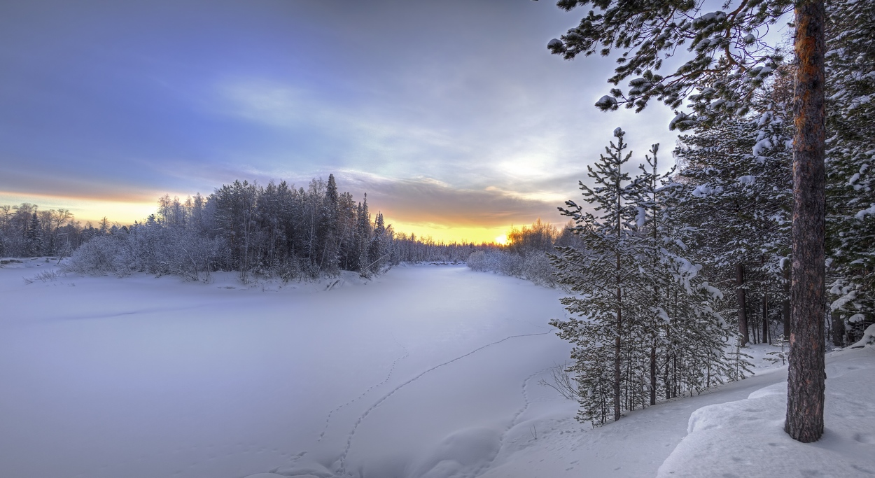 "photo ""***"" tags: landscape, evening, forest, river, snow, sunset, winter, мороз"