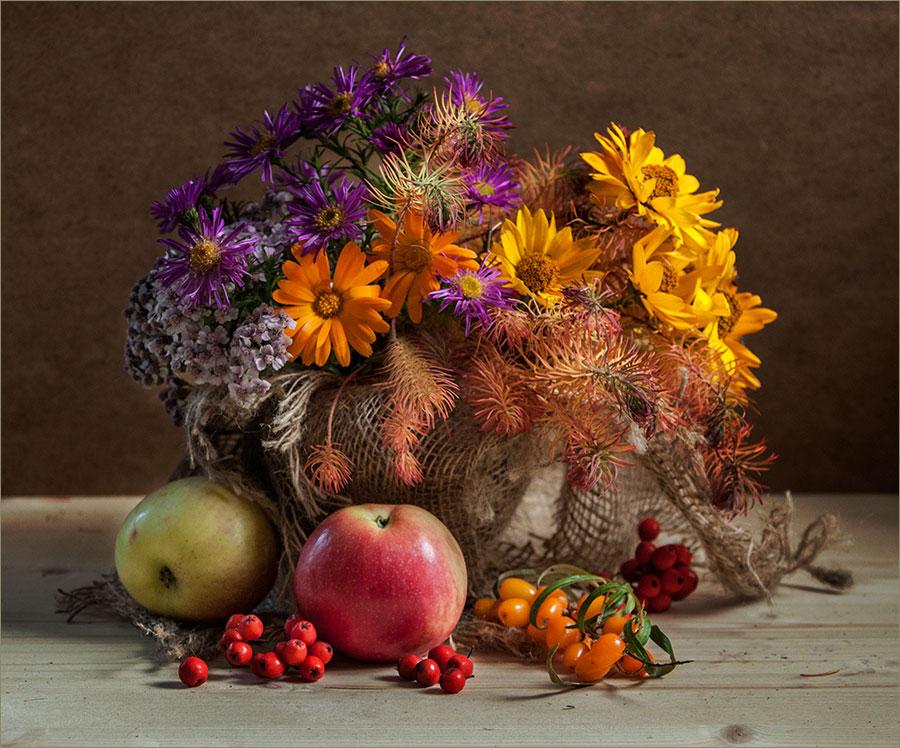 """фото """"Осенний калейдоскоп. Вариант 2."""" метки: натюрморт, фрукты, цветы"""