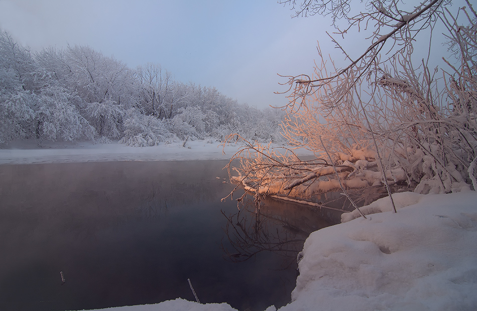 "photo ""***"" tags: landscape, morning, river, sun, sunrise, winter, мороз"