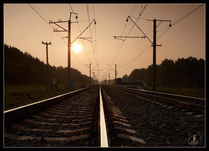 """фото """"Разъезд 36"""" метки: путешествия, пейзаж, железная дорога, путь, солнце"""