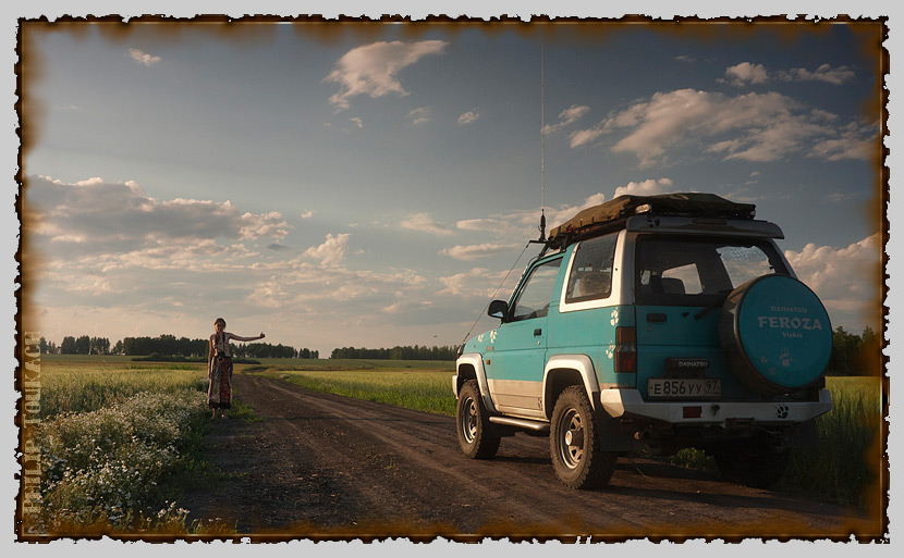 "фото ""Машина времени"" метки: путешествия, жанр, автостоп, девушка, джип, дорога, машина"
