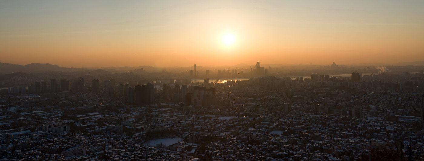 "фото ""Над Сеулом"" метки: пейзаж, город, Азия, закат, зима"