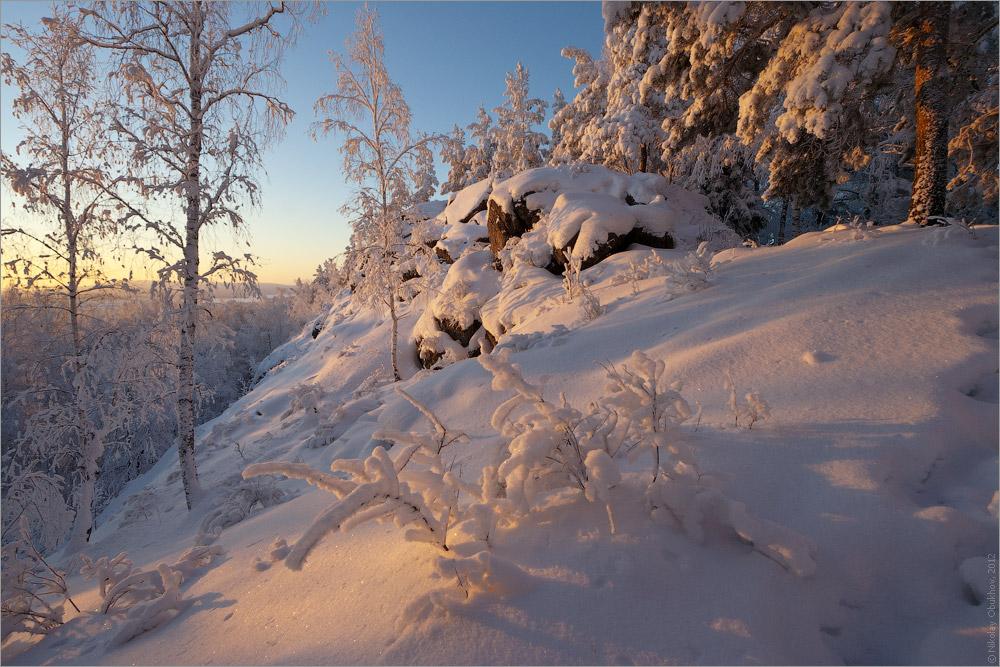 """фото """"Морозно / 0215_0276"""" метки: пейзаж, горы, закат, зима, лес, рассвет, скалы, солнце"""