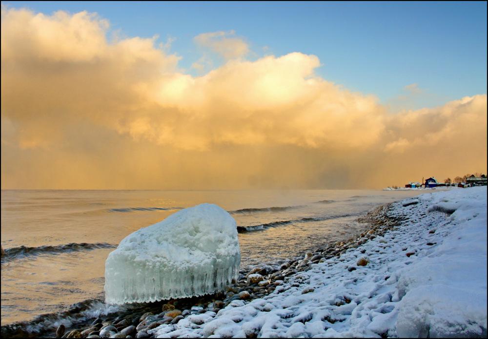 """фото """"Байкальская медуза."""" метки: пейзаж, Азия, вода, закат, зима., облака"""