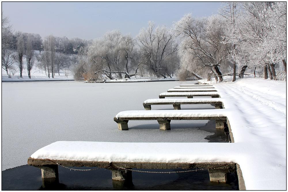 "фото ""***"" метки: пейзаж, город, parks, trees, Бухарест, зима, озеро, снег"