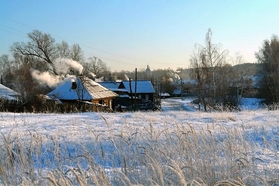"""фото """"Деревенский пейзаж. Морозное утро."""" метки: пейзаж, МОРОЗНОЕ УТРО, зима, пейзаж"""