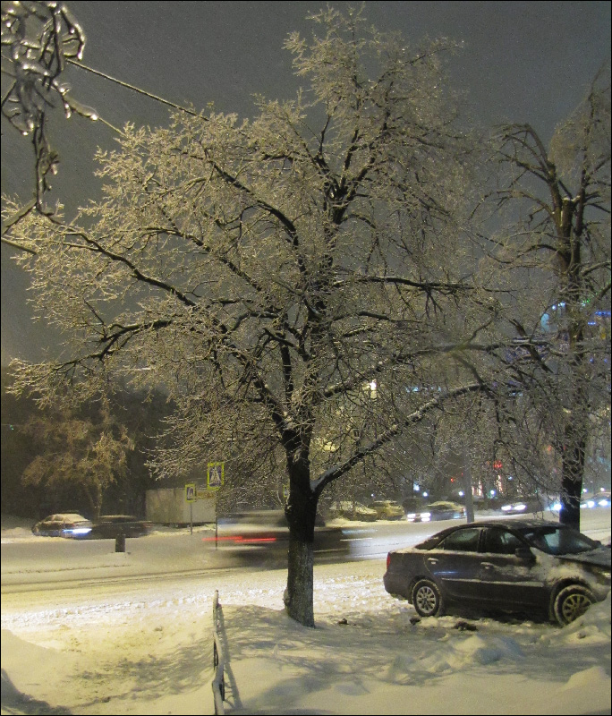 "photo ""***"" tags: city, evening, snow, winter, лед"